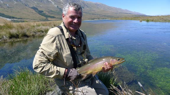 Marc with a lovely 2kg back country rainbow