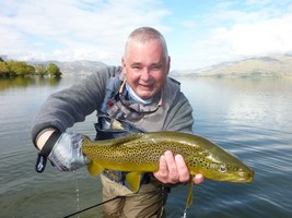 Trout hooked by anglers fly fishing in the lakes and rivers at the foot of the Southern Alps in New Zealand.