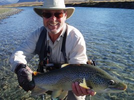Fly fishing for trout in beautiful New Zealand